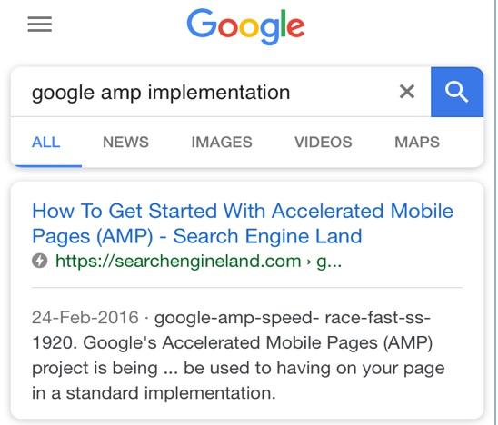 Google AMP aram sonuçları ekran görüntüsü